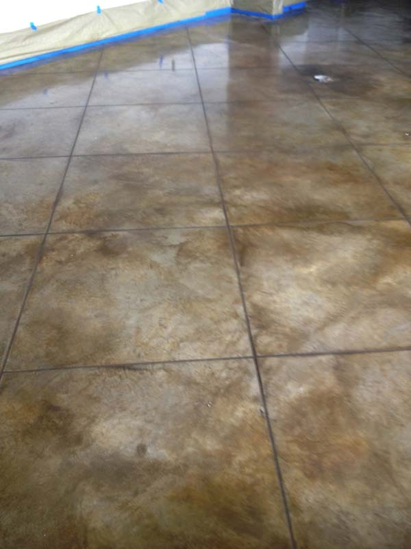 Nu crete designs stained and scored concrete for Best wax for stained concrete floors